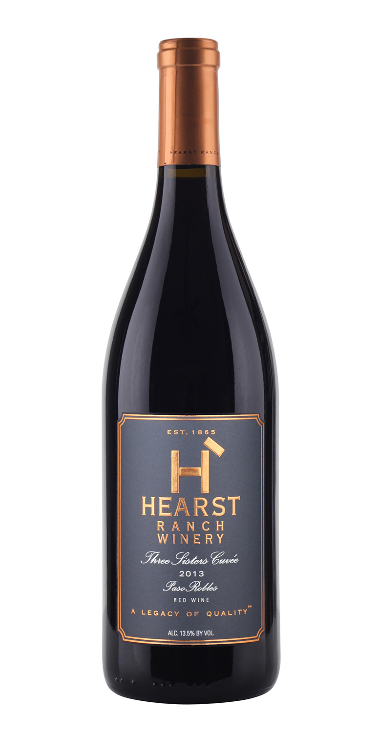 Hearst Ranch wine bottle photography foil label lighting