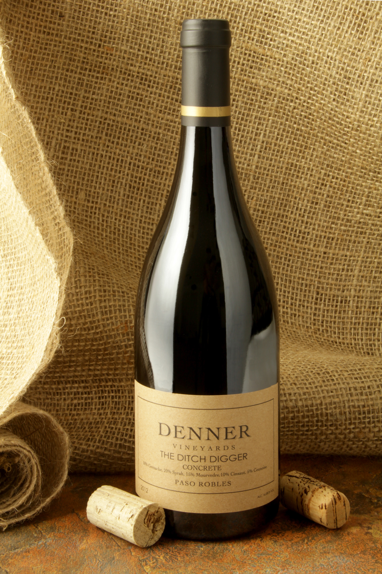 wine bottle denner winery ditch digger stylized
